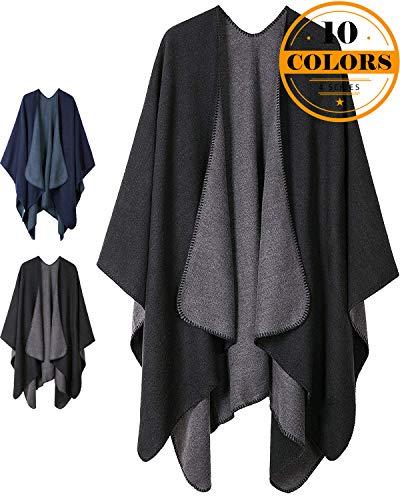 (Women Plaid Shawls and Wraps,Winter Poncho Cape,Soft Cashmere Cloak,Oversized Long Cardigan Sweaters(Black))