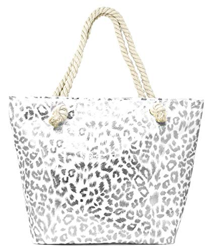 MIRMARU Women's Large Beach Bag Top Zipper Closure Tote with Braided Rope Handles and Inner Pocket (Metallic Leopard Print-SIlver)