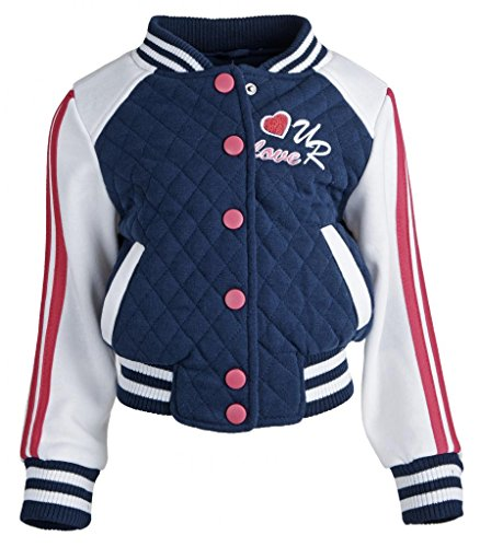 Urban Republic Girls Jersey Quilted Varsity Spring Jacket Hoodie with Knit Rib - Navy (Size 5/6)