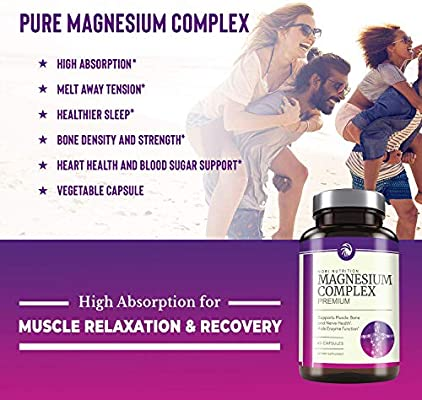 Nobi Nutrition High Absorption Magnesium Complex - Premium Mag Supplement for Sleep, Leg Cramps, Muscle Relaxation & Recovery - Formulated for Women & Men - Vegan, Pure, Non-GMO - 60 Veggie Capsules