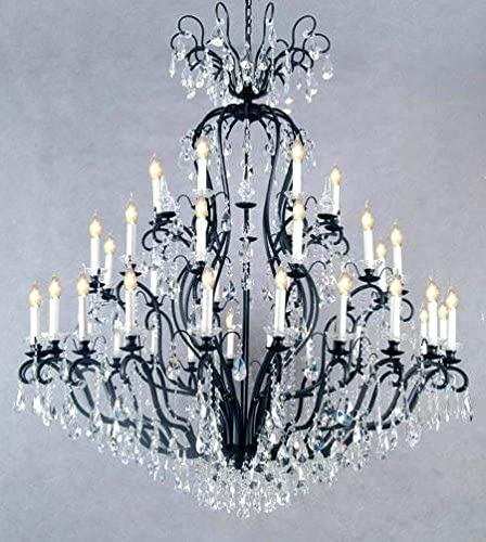 Wrought Iron Crystal Chandelier Chandeliers Lighting H72 x W60 – Perfect for an Entryway or Foyer