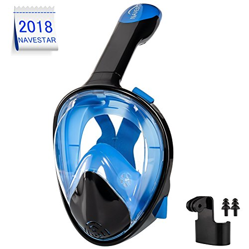 Bridge Engineering Micro (NAVESTAR Full Face Snorkel Mask for Kids Youth Adults, 180° Panoramic View Easybreath Snorkeling Mask with Gopro Mount & Ear Plugs, Anti-Fog & Anti-Leak Underwater Snorkel Mask)