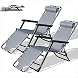 Purenity Outdoor Lay Flat Patio Reclining Beach Sun Lounge Chair Set of 2 (Dark Grey)
