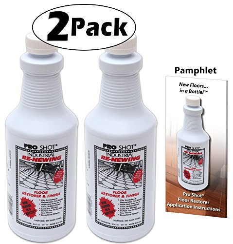 2 PACK Pro Shot Industrial Re-Newing Floor Restorer And Finish (64 oz. - 32 oz. each) Petrochemical-Free Formula (Slip Floor Wax)