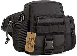 ArcEnCiel Multi Functional Waist Pack, Military Single Shoulder Hip Belt Bag Fanny Packs Water Resistant Waist Bag Pouch Hiking Climbing Outdoor Bumbag with Water Bottle Pocket Holder, mens, D1006-30-01US, Black