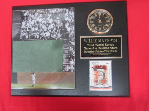 - Willie Mays 1954 World Series Catch Collectors Clock Plaque w/8x10 Photo and Card
