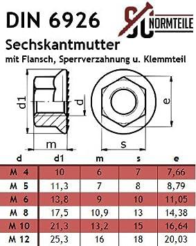Flansch DIN 6926 V4A Edelstahl M8 A4 50 Stück Sicherungsmuttern m