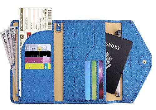 Zoppen Multi-purpose Rfid Blocking Travel Passport Wallet (Ver.4) Tri-fold Document Organizer Holder (#31 Honolulu Blue (2018 New))