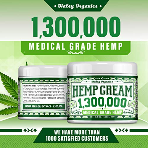 Hemp Cream - Pain Relief Cream - 1,300,000 - Natural Hemp Cream for Arthritis, Muscle Pain Relief - Made in USA - Hemp Oil Extract with MSM - 3.4OZ