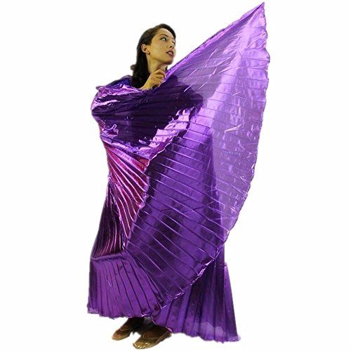 Danzcue Adult Small Solid Deep Purple Belly Dance Worship Angel Wings With Sticks (Fiberglass Wings)