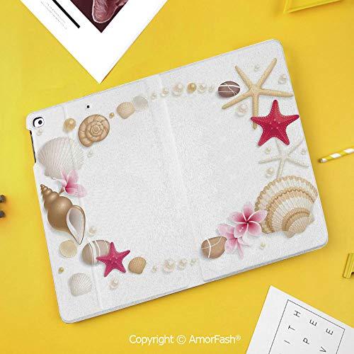 - Slim Case for Samsung Galaxy Tab S4 T830 T835 SM-T837 10.5 Protective,Pearls Decor,Frame with Seashells Starfish Stones Frangipani Exotic Flower Pattern Print Decorative,Beige Fuchsia