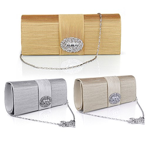 Evening SSMY Wedding Formal Designer Clutch Women Ladies' Handbag for Bags for Crystal Satin Purse Pleated Silver Evening 7U7Frwq