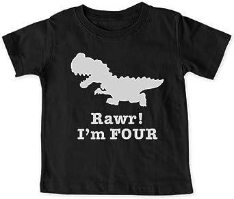 SpiritForged Apparel Dinosaur 4 Year Old Toddler 3//4 Raglan Shirt