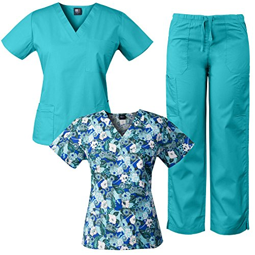 Medgear 3-Piece Combo, Eversoft Scrubs Set with Printed Scrubs Top FFRO
