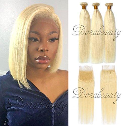 Dorabeauty #613 Platinum Blonde Hair 4×4 Lace Closure with 3 Bundles 100% Brazilian Remy Human Hair (10Closure +101214Bundles, Straight Blonde)