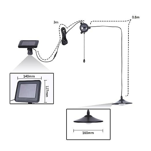 Lixada Lámpara Colgante Suspensión Solar Powered 4 LED 250LM Cobertizo Luz con Mando a Distancia para Jardín de la Yarda de Inicio: Amazon.es: Hogar
