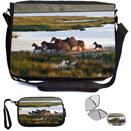 Rikki Knight Herd of Horses Galloping in Field Design COMBO Multifunction Messenger Laptop Bag - with padded insert for School or Work - includes Wristlet & Mirror