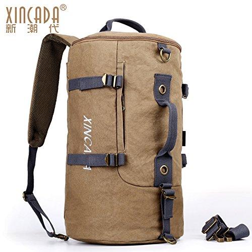 hombres de gran hombro de hombro de negro viajes capacidad paquetes de bolsas ocio bolsa SunBao lona Caqui de viajes de y bolsa Manual de rollo multifunción deporte qgzw16gS