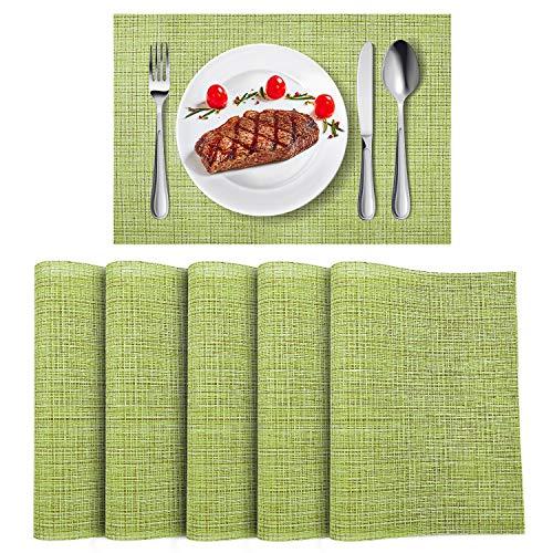 - WLIFE Placemats, Heat-Resistant Placemats, Stain Resistant Washable PVC Table Mats, Cross Weave Non-Slip Vinyl Table Mats 18
