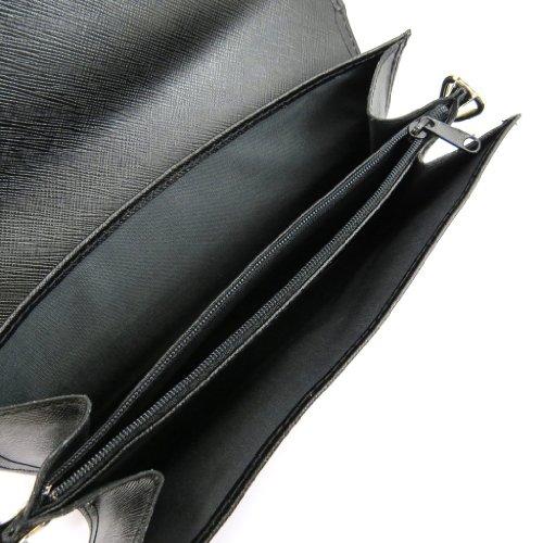 Frandi [K9869] - Sac pochette cuir 'Frandi' noir (2 soufflets)