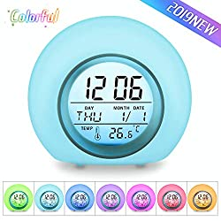 OUTERDO Kids Alarm Clock, Children's Light Alarm Clock for Bedrooms, 7 Color Changing Bedside Clock for Boys Girls,with Indoor Temperature, Touch Control and Snoozing(Blue)