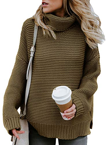 Asvivid Chunky Turtle Cowl Neck Pullover Sweater for Womens Cozy Lightweight Cable Knit Warm Winter Sweater M Light Brown