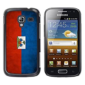 Slim Design Hard PC/Aluminum Shell Case Cover for Samsung Galaxy Ace 2 I8160 Ace II X S7560M National Flag Nation Country Haiti / JUSTGO PHONE PROTECTOR