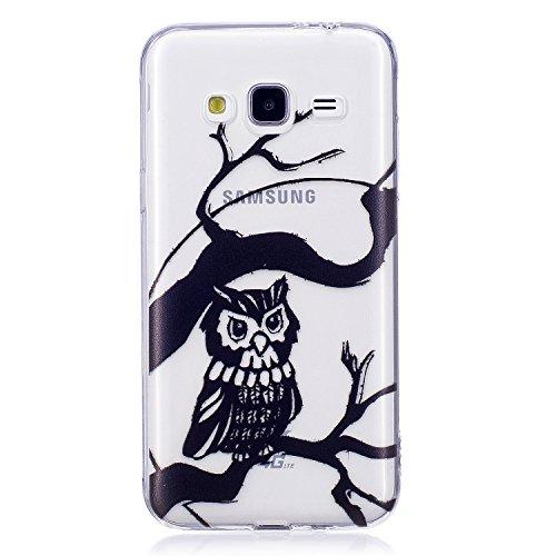 J3 2016 Case, Samsung J3 2016 Soft Case, Samsung Galaxy J310 Clear Back Cover, Cozy Hut Ultra Light Slim Shockproof Silicone TPU Gel Case [Ultra-Thin] [Lightweight] [Anti-Scratch] [Drop Protection] Tr Black owl