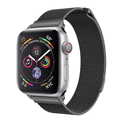 for Apple Watch Series 4 Milanese Smart Watch Strap Band,Outsta Stainless Steel Magnetic Watch Band 40/44MM (for Apple Watch Series 4 44MM, Black)
