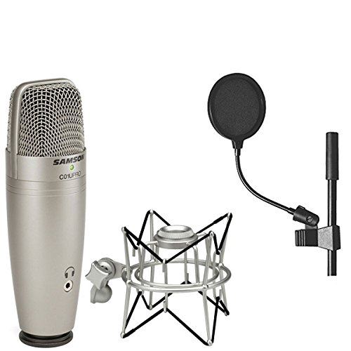 Samson C01U Pro USB Studio Condenser Microphone + Samson SP01 Spider Shockmount + On Stage 4 Inch Pop Filter (Usb Instrumental Microphone)