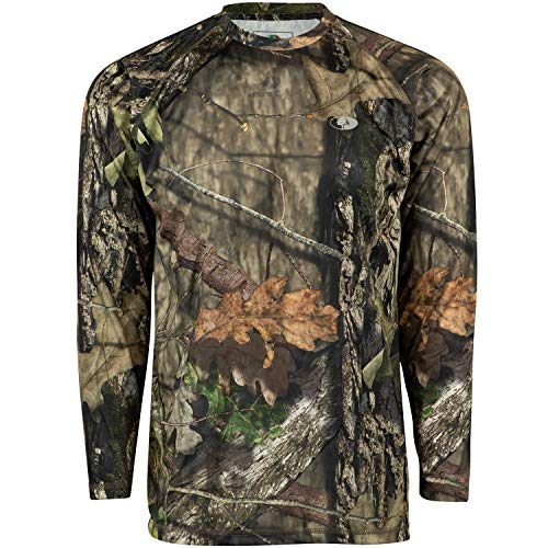 (Mossy Oak Mo Camo Performance Long Sleeve Tech Hunting Shirt, Break-Up Country, Large)