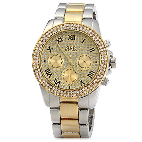 ELEOPTION GND Men Diamond Quartz Watch with Decorative Sub-dials Stainless Steel Watchband (Gold-Silver) (Dial Steel Wet Stainless)