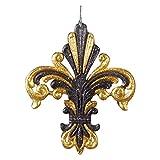 Fleur De Lis Deco Christmas Ornament Gold and Black Glittered T1546 Kurt Adler