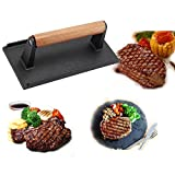 Professional Cast Iron Steak Weight Press Bacon Meat Sausage Grill Pressing Plate with Wooden Handle BBQ Tool(black)