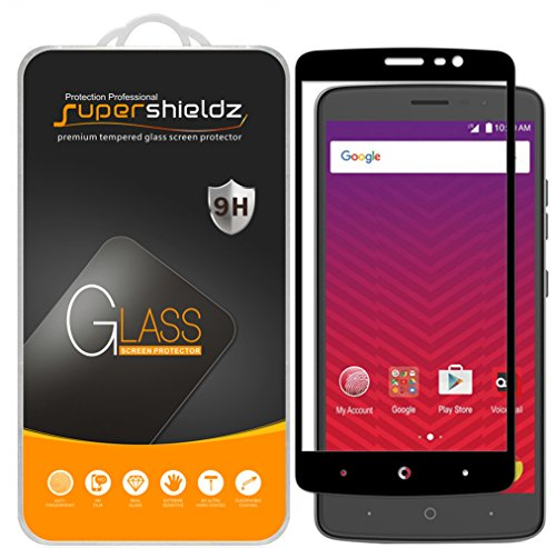 (2 Pack) Supershieldz for ZTE Max XL Tempered Glass Screen Protector, (Full Screen Coverage) Anti Scratch, Bubble Free (Black) (Phone Cases For A Boost Max Zte)