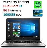 "Latest HP Premium High Performance 15.6"" HD Laptop PC, Intel Dual-Core i3 Processor, 8GB RAM, 1TB HDD, SuperMulti DVD Burner, HD Webcam, HDMI, 802.11AC Wi-Fi, Bluetooth, USB 3.0, Windows 10"