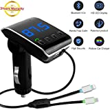 #5: Bluetooth FM Transmitter For Car , LUTU Wireless In-Car Bluetooth Receiver Car MP3 Player Stereo Radio Aux Adapter Car Kit Supports TF/SD Card USB Car Charger For All Smartphones-Silver