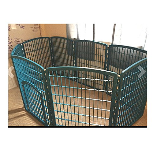 Large Dog Pen Breed Exercise Door Pet Portable 8 Panels Kennel Gate Playpen Adjustable Lightweight & eBook by OISTRIA