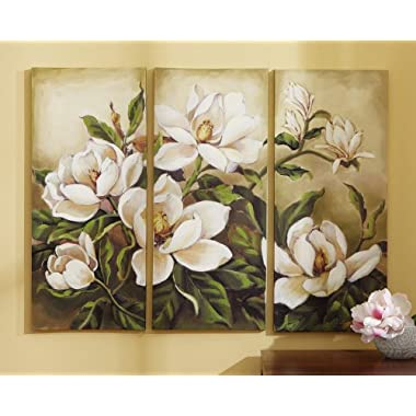 Floral Magnolia Canvas Wall Art - 3 Pc