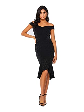 3dfc10ba Quiz Glitter Bardot Dip Hem Dress - Black - Size 8-18: Amazon.co.uk:  Clothing