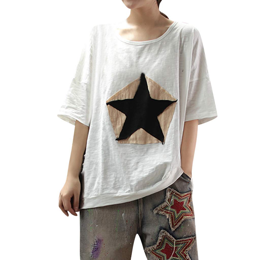 CHLZYD Women's Loose Five-Pointed Star Patch Round Neck Short-Sleeved T-Shirt Camis Tunics Blouse White