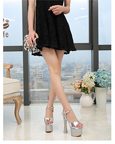 Plateado y Stage Performance Noche super tacones centimetros tienda zapatos mostrar 18 XiaoGao Model caminando wUn8Wx8