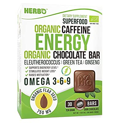 HERBO Organic Chocolate Energy and Focus Booster Supplement Include Omega 3 from Flax Seed also Consists of Green Coffee - Green Tea - Ginseng - Eleutherococcus - 30 day supply + Immune Vitamin Candy