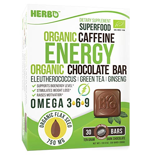 Caffeine Theanine Organic Energy Booster in Dark Chocolate by Herbo Superfood – Pre Workout Supplement for Focus, Power & Concentration – Ginseng, Eleutherococcus & Flax Seeds – Omega-3, Gluten Free