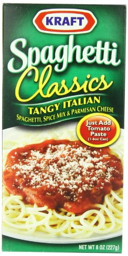 Kraft Spaghetti Classics, Tangy Italian Spaghetti Spice Mix & Parmesan Cheese, 8-Ounce Boxes (Pack of (Cheese Spaghetti)