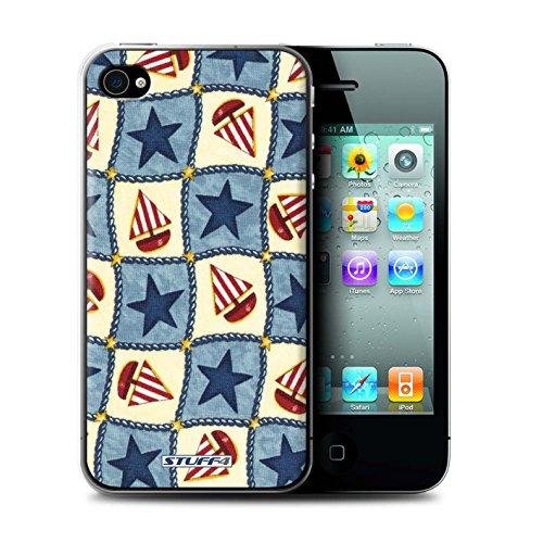 Coque de Stuff4 / Coque pour Apple iPhone 4/4S / Bleu/Rouge Design / Bateaux étoiles Collection / par Deb Strain de Penny Lane Publishing, Inc.