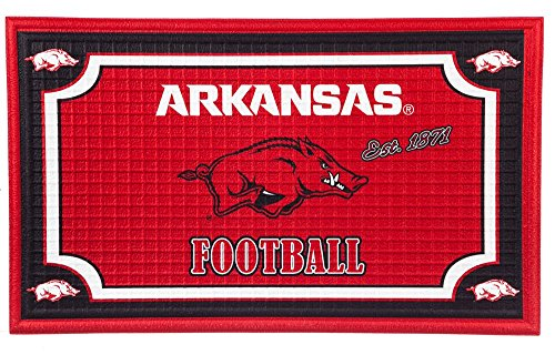 Team Sports America Arkansas Razorbacks Embossed Floor Mat, 18 x 30 inches ()