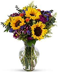 The finest handpicked field-grown flowers are what make up our popular Flowering Fields bouquet - bold sunflowers framed by some of the most unique colors and textures. Surround yourself or someone you care about with the best Mother Nature can offer...