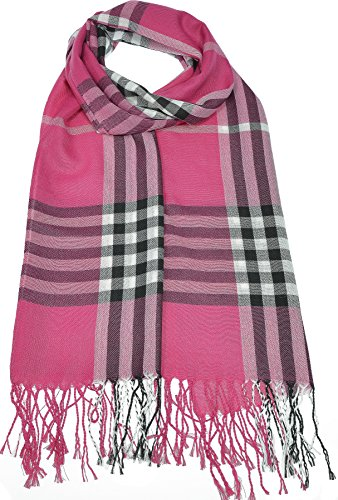 Hand By Hand Aprileo Women's Plaid Scarf Checkered Classic Long Wrap Shawl [Fuchsia](One ()