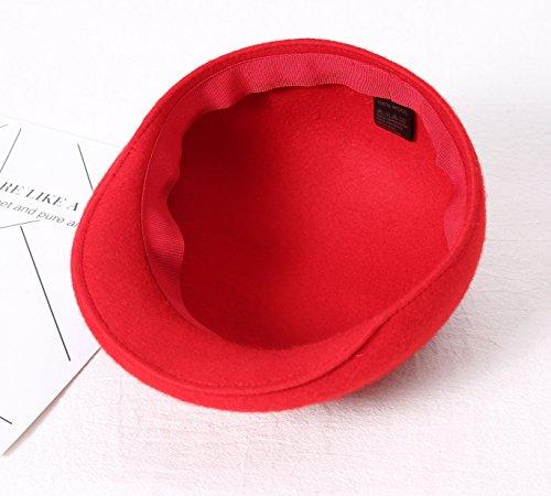 Queenestar Australian Wool Beret Hat Cap For Women Plain Winter Warm Beret Caps (Red) by Queenestar (Image #6)